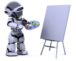 robot painting at an easel
