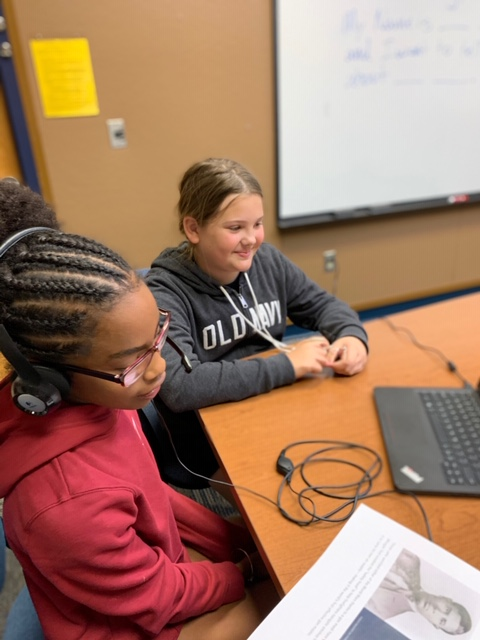 student working on black history month podcasts