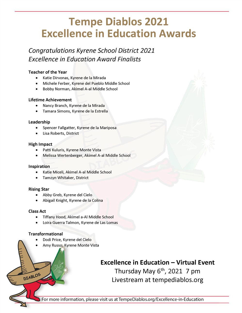 List of Tempe Diablos 2021 Excellence in Education Awards