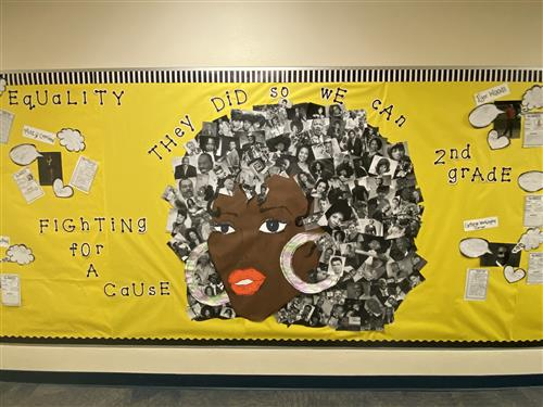 Equality Black History Month bulletin board at school