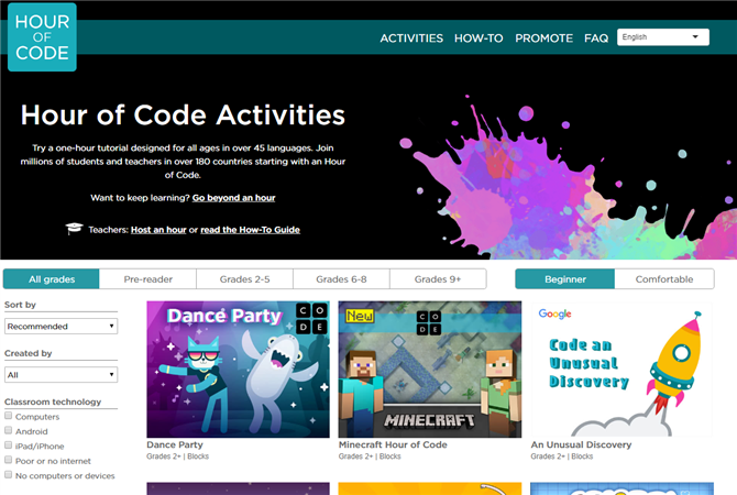 Hour of Code Activities Page