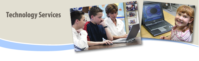 technology banner with students and teacher on laptops