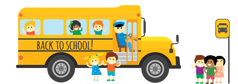 Kids by school bus graphic