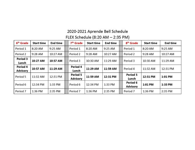 School Bell Schedule for 2020/2021