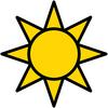 Geometric yellow sun