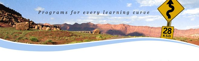 "Arizona landscape with ""Programs for Every Learning Curve"" headline"