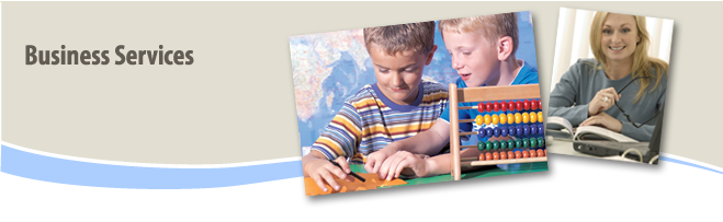 Business Services Banner with children using abacus and women with book open