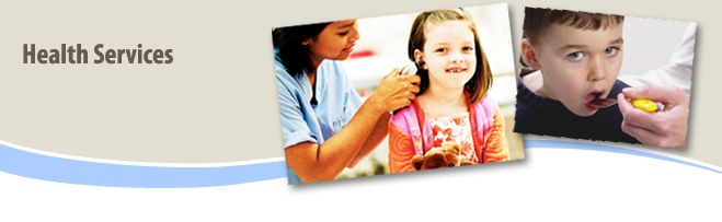 Health Services Banner with Images of Medical Professional Looking in a Girl's Ear and a Boy Taking Medicaiton